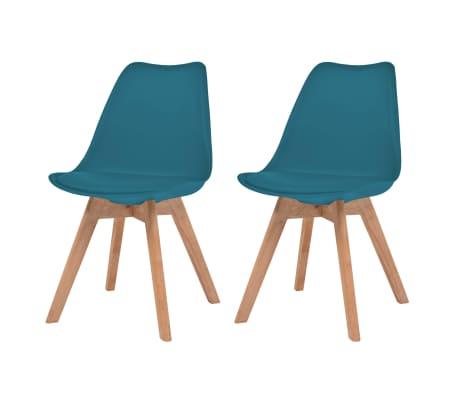 vidaXL Трапезни столове, 2 бр, тюркоаз, изкуствена кожа