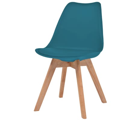 vidaXL Krzesła, 2 szt., sztuczna skóra, lite drewno, turkusowe[2/6]