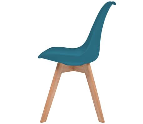 vidaXL Krzesła, 2 szt., sztuczna skóra, lite drewno, turkusowe[4/6]