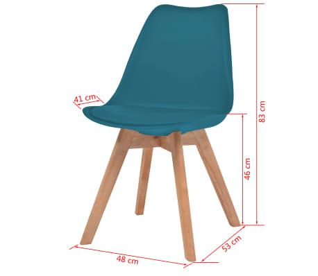vidaXL Krzesła, 2 szt., sztuczna skóra, lite drewno, turkusowe[6/6]