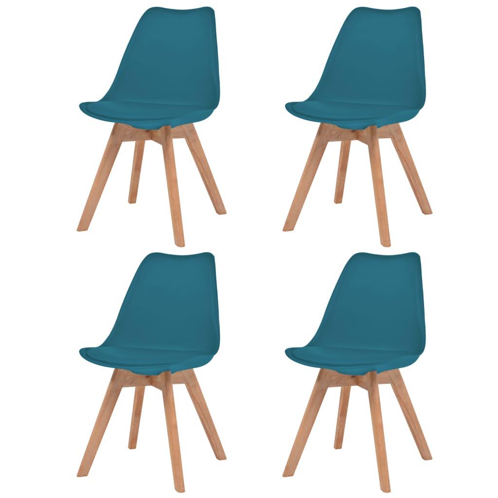 vidaXL Καρέκλες Τραπεζαρίας 4 τεμ. Τιρκουάζ Δερματίνη και Μασίφ Ξύλο