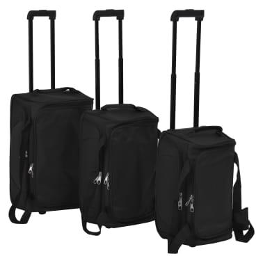 vidaXL Juego de 3 maletas negras[1/10]