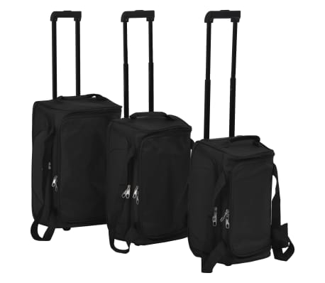 acheter vidaxl valise 3 pcs noir pas cher. Black Bedroom Furniture Sets. Home Design Ideas