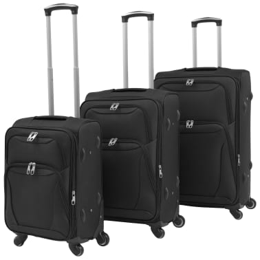 vidaXL 3 Piece Soft Case Trolley Set Black[1/11]