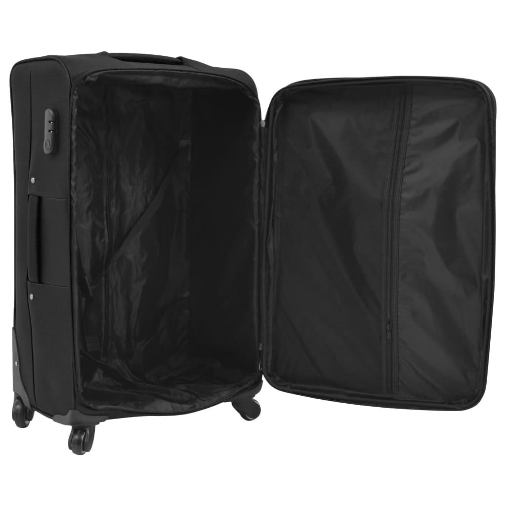 Kolmeosaline pehme kattega kohvrite komplekt, must