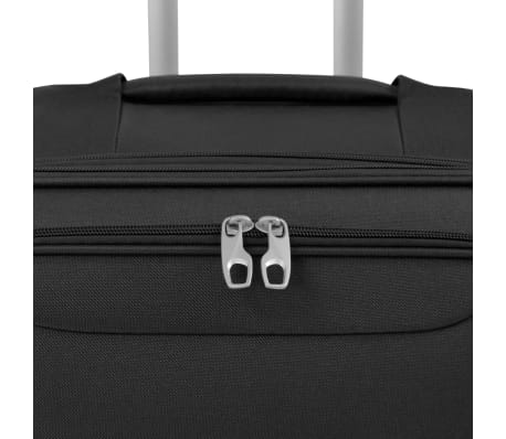 vidaXL 3 Piece Soft Case Trolley Set Black[5/11]