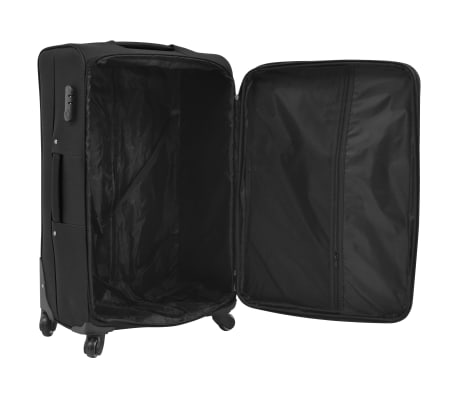vidaXL 3 Piece Soft Case Trolley Set Black[6/11]