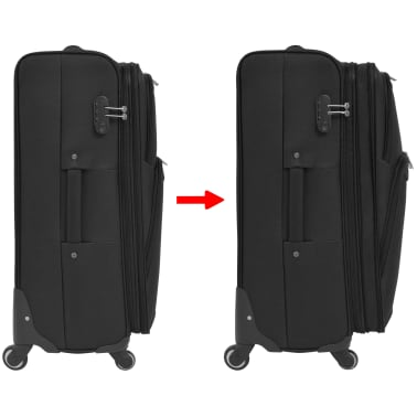 vidaXL 3 Piece Soft Case Trolley Set Black[7/11]