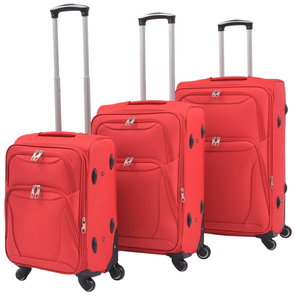 3dílná souprava měkkých kufrů na kolečkách, červená