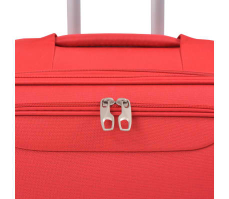 vidaXL 3 Piece Soft Case Trolley Set Red[5/11]