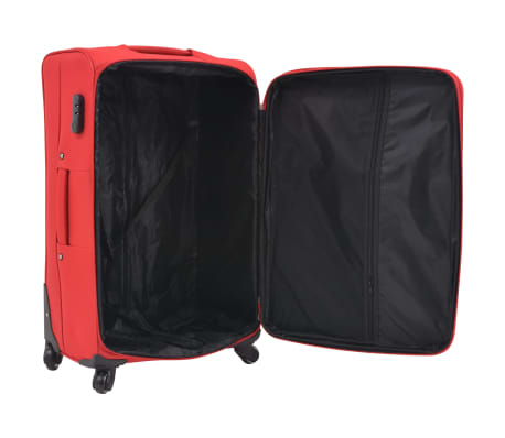 vidaXL 3 Piece Soft Case Trolley Set Red[6/11]