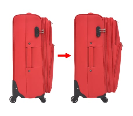 vidaXL 3 Piece Soft Case Trolley Set Red[7/11]
