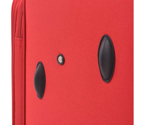 vidaXL 3 Piece Soft Case Trolley Set Red[10/11]