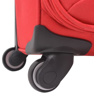 vidaXL 3 Piece Soft Case Trolley Set Red[8/11]