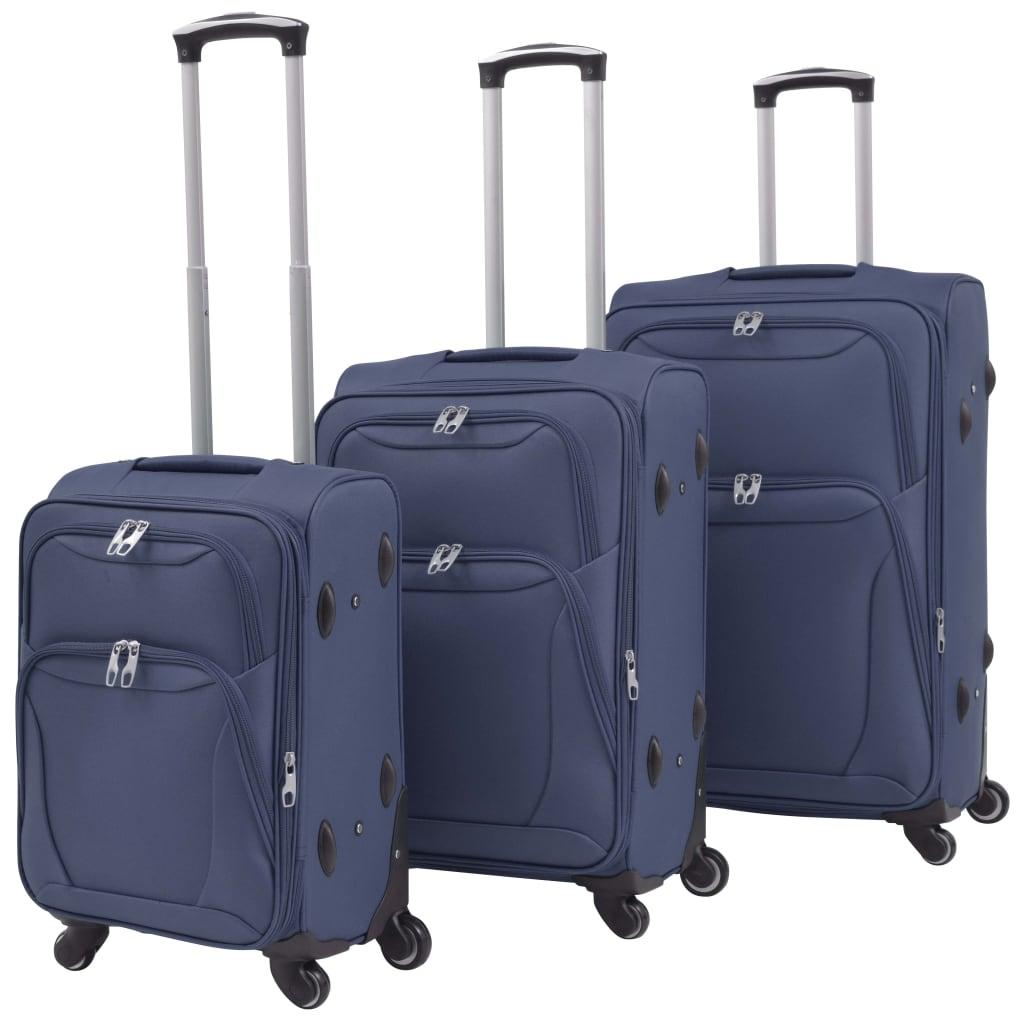 3dílná souprava měkkých kufrů na kolečkách, tmavě modrá