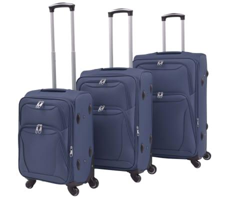 vidaXL Minkštų lagaminų su ratukais komplektas, 3vnt., tamsiai mėlyna[1/11]