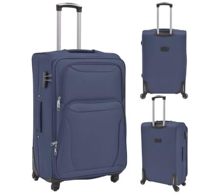 vidaXL Minkštų lagaminų su ratukais komplektas, 3vnt., tamsiai mėlyna[2/11]