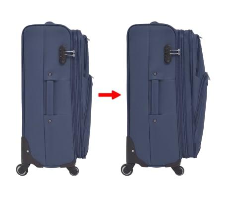 vidaXL Minkštų lagaminų su ratukais komplektas, 3vnt., tamsiai mėlyna[7/11]