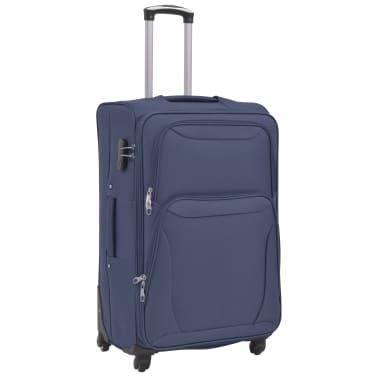 vidaXL Minkštų lagaminų su ratukais komplektas, 3vnt., tamsiai mėlyna[3/11]
