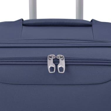 vidaXL Minkštų lagaminų su ratukais komplektas, 3vnt., tamsiai mėlyna[5/11]