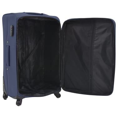 vidaXL Minkštų lagaminų su ratukais komplektas, 3vnt., tamsiai mėlyna[6/11]