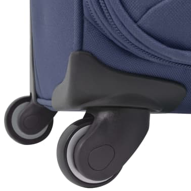 vidaXL Minkštų lagaminų su ratukais komplektas, 3vnt., tamsiai mėlyna[8/11]