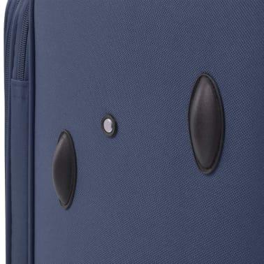 vidaXL Minkštų lagaminų su ratukais komplektas, 3vnt., tamsiai mėlyna[10/11]
