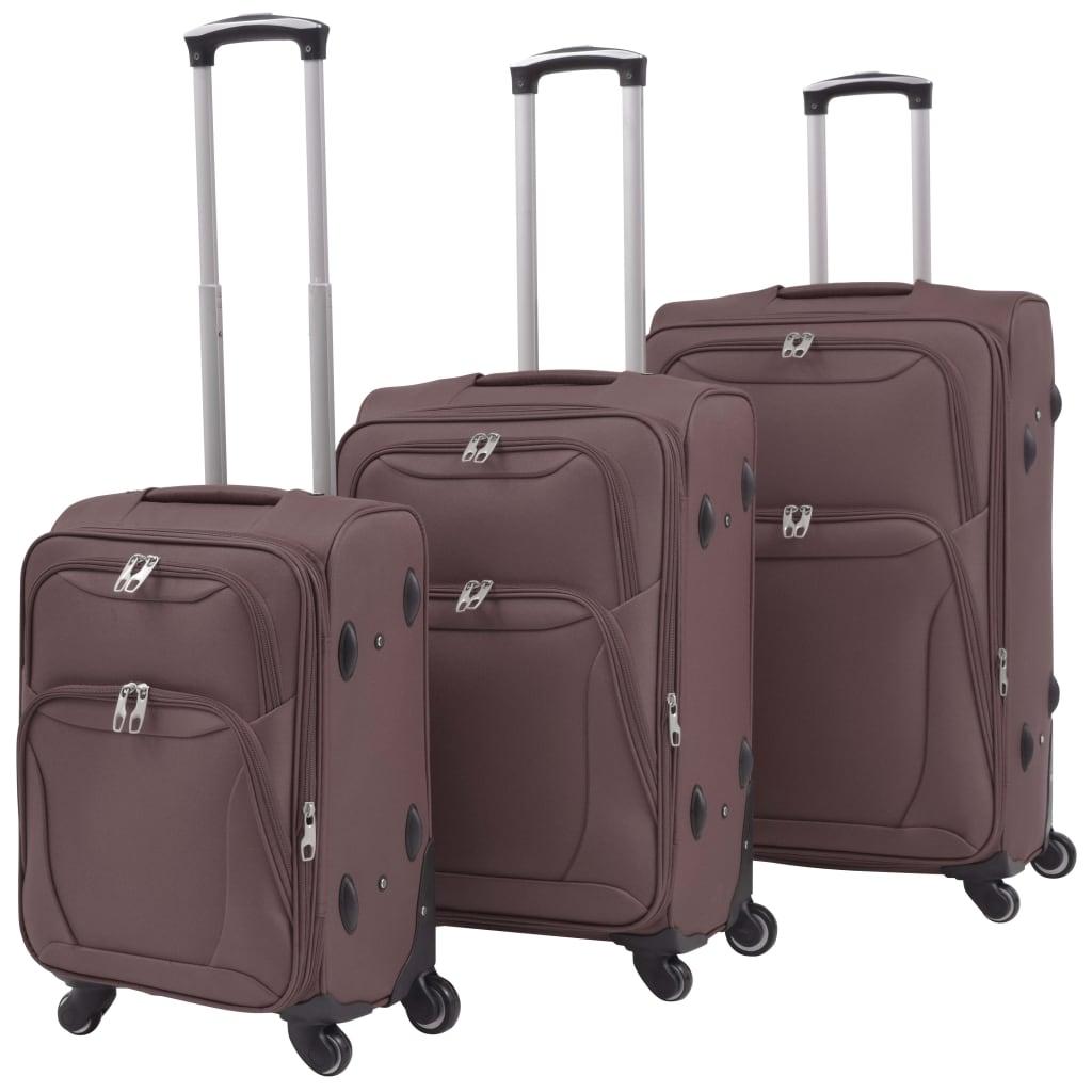 3dílná souprava měkkých kufrů na kolečkách, kávová