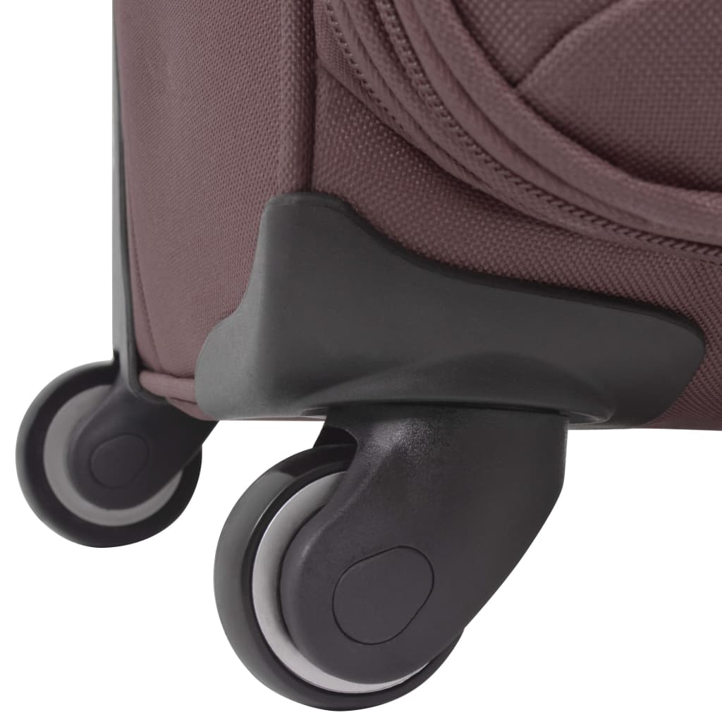 Kolmeosaline pehme kattega kohvrite komplekt, kohvivärvi