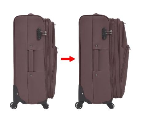 vidaXL 3 Piece Soft Case Trolley Set Coffee[7/11]