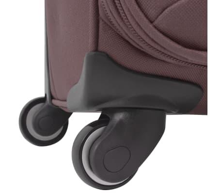 vidaXL 3 Piece Soft Case Trolley Set Coffee[8/11]