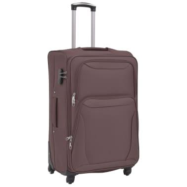 vidaXL 3 Piece Soft Case Trolley Set Coffee[3/11]