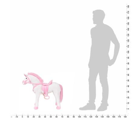 vidaXL Stovintis pliušinis žaislas vienaragis, baltas ir rožinis, XXL[6/6]