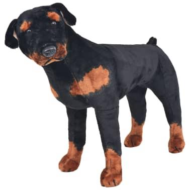 vidaXL Pastat. pliušinis žaislas šuo, rotveileris, juodas ir rud., XXL[1/4]