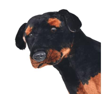 vidaXL Pastat. pliušinis žaislas šuo, rotveileris, juodas ir rud., XXL[3/4]