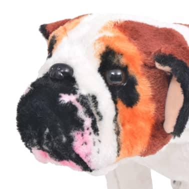 vidaXL Jouet en peluche Chien de race Bulldog Marron et blanc XXL[3/4]