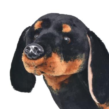 vidaXL Perro salchicha de peluche de pie negro XXL[3/4]