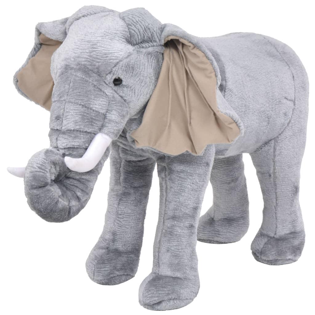 Stojící plyšová hračka, slon, šedý, XXL