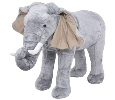 vidaXL Standing Plush Toy Elephant Grey XXL