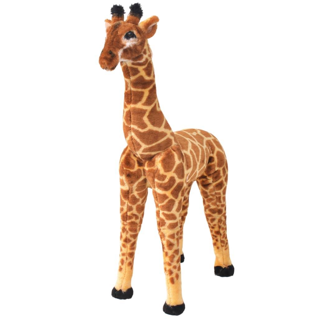 Stojící plyšová hračka, žirafa, žlutohnědá, XXL