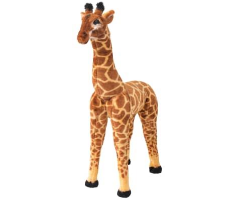 vidaXL Stojící plyšová hračka, žirafa, žlutohnědá, XXL