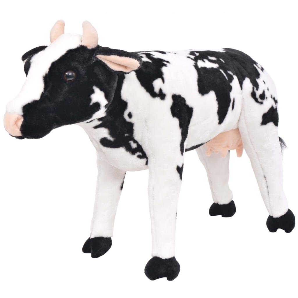 vidaXL Stojící plyšová hračka, kráva, černobílá, XXL