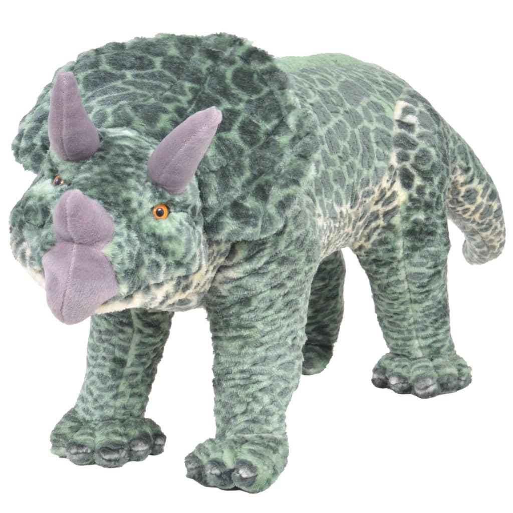 Stojící plyšová hračka, dinosaurus triceratops, zelený, XXL