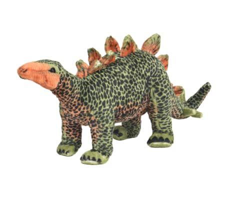 vidaXL Standing Plush Toy Stegosaurus Dinosaur Green and Orange XXL