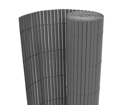 vidaXL Dwustronne ogrodzenie ogrodowe, PVC, 90x500 cm, szare