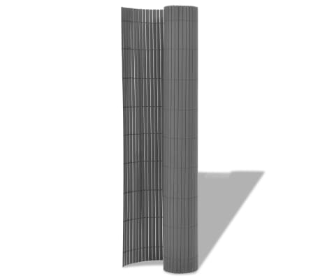 vidaXL dobbeltsidet havehegn PVC 90 x 500 cm grå[2/5]