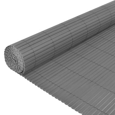 vidaXL dobbeltsidet havehegn PVC 90 x 500 cm grå[4/5]