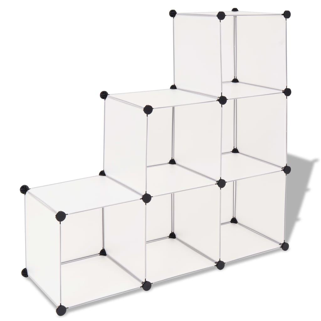 vidaXL Dulap de depozitare tip cub, 6 compartimente, alb poza 2021 vidaXL