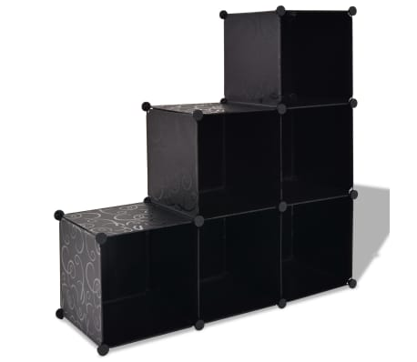 vidaXL Estantería de cubos con 6 compartimentos negro[1/5]