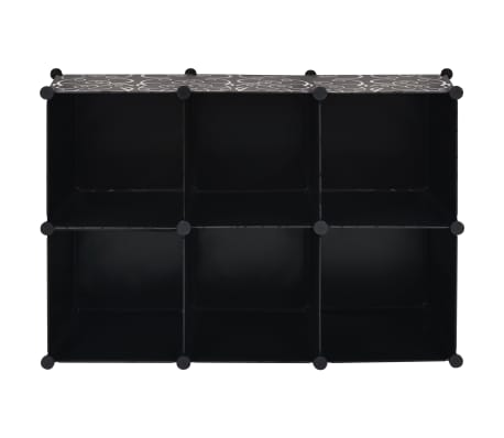 vidaxl regalsystem w rfel regal mit 6 f chern schwarz g nstig kaufen. Black Bedroom Furniture Sets. Home Design Ideas